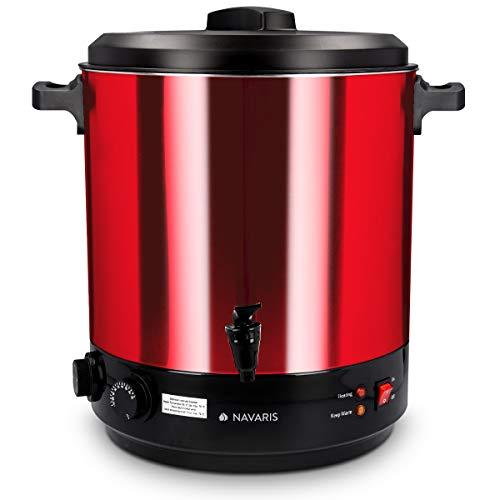 Navaris 2in1 Einkochautomat mit Glühweinkocher Funktion - 27 Liter Timer bis 120min Thermostat Zapfhahn - Einkochtopf auch für Heißgetränke Rot