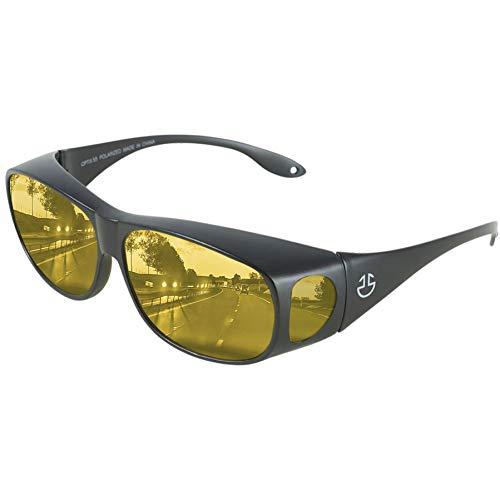 Night Driving Glasses Anti Glare Polarized, HD Night Vision Driving Wraparounds - Yellow Tinted Nighttime Driving Glasses for Men & Women - Glare Reducing, Polarized Lens | Bonus Case Included(Black)