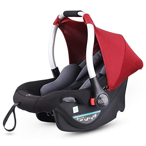 LETTAS Babyschale Baby-Autositz mit Sonnenverdeck Gruppe 0+ Kindersitz (0-13 kg), nutzbar ab der Geburt bis ca. 12 Monate ECE-R 44/04 (Wein)