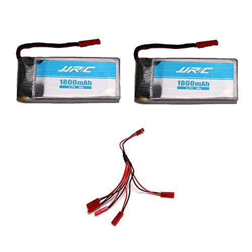 INKPOT Spare Parts for JJRC H68 Batteries 2PCS 3.7V 1800mAh Batteries with 5 in 1 Cable Accessories...
