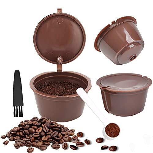 FOROREH Capsula caffè Riutilizzabile 3 Pezzi per Macchina caffè Dolce Gusto Capsula caffè Riutilizzabile con 1 Cucchiaio di Plastica e 1 Spazzola per La Pulizia, Capsule Riutilizzabili