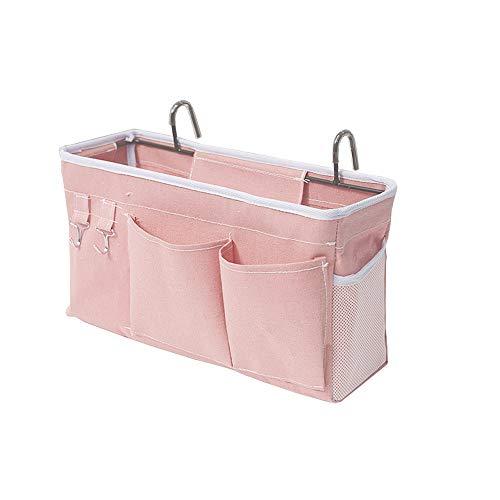 E EBETA Bett Organizer Bett Tasche mit Darhthaken Hängetasche Hochbett Aufbewahrungstasche für Buch, Magazin, Handy, Kopfhörer Bett Aufbewahrung(Rosa)