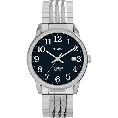 Timex Men's TW2U08800 Easy Reader 35mm Silver-Tone/Blue Perfect Fit Expansion Band Watch
