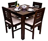 FURNIZY Sheesham Wood Square 4 Seater Dining Table Set with 4 Cushion Chairs Wooden Dining Room Set Furniture for Home Office (Walnut Finish)