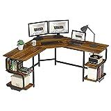 Teraves Modern L Shaped Desk with Shelves,Computer Desk/Gaming Desk for Home Office,Corner Desk with...