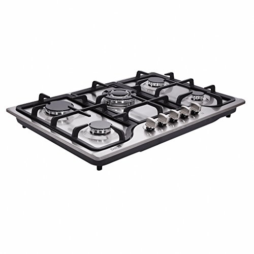 """Deli-kit DK257-A01 30"""" LPG/NG Gas Cooktop gas hob stovetop 5 burners Dual Fuel 5 Sealed Burners Built-In gas hob Stainless Steel 110V AC pulse ignition gas Cooker gas stove with cast iron support"""
