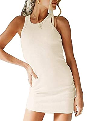 Material: Cotton Rib-Knit dress. This material is lightweight, soft and good stretchy, make you more comfortable. Features: Sleeveless slim fit, ribbed knit fabric, solid color binding tank mini dress, racerback bodycon dress. Occasion:Suitable for m...