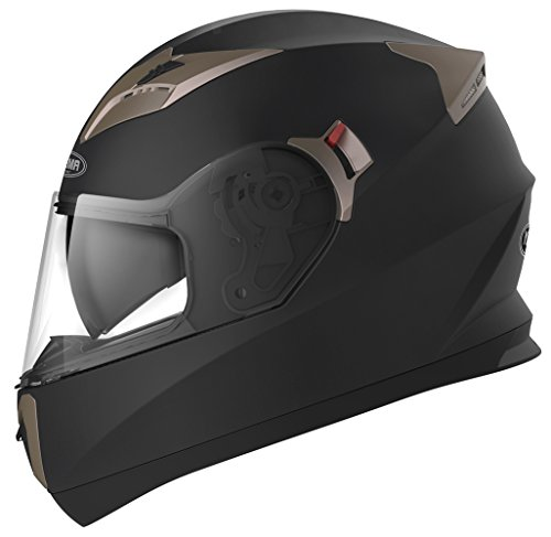 YEMA Helmet Unisex-Adult Motorcycle Full Face DOT Approved-YEMA YM-829 Motorbike Moped Street Bike Racing Casco Moto Helmet with Sun Visor Bluetooth Space, Youth Men and Women (Matte Black, M)