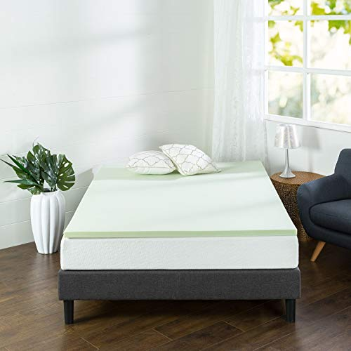 Zinus 1.5 Inch Green Tea Memory Foam Mattress Topper / Green Tea & Charcoal Infused for Freshness / CertiPUR-US Certified, Queen