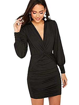 92% Polyester, 8% Spandex, fabric is very stretchy Plunging neck, bishop sleeve, bodycon, slim fit, high waist, twist knot front, ruched, pencil dress The solid pencil dresses for women is perfect for daily wear, work, party, wedding, club, church, d...