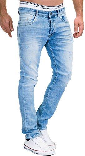 MERISH 9148-2100, jeans da uomo slim fit, elasticizzati, in denim 9148 azzurro 36W x 30L