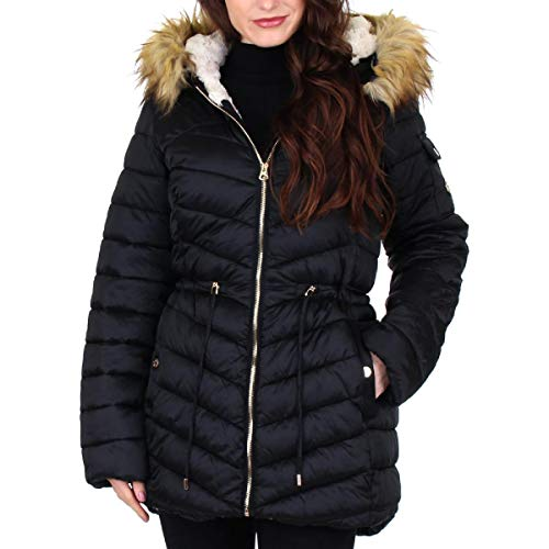 Jessica Simpson Women's Cozy Lined Faux Fur Winter Puffer Coat Black Size M