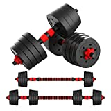 Mikolo Adjustable Dumbbell Barbell Weight Pair Total 88LBS, Free Weights Dumbbells with Connecting Rod Used As Barbell,All-Purpose, Home, Gym, Office