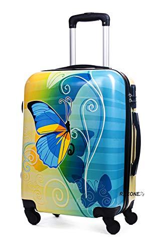 R.Leone Valigia bagaglio a mano 4 ruote in Policarbonato (Farfalla blu, S Bagaglio a mano 55cm)