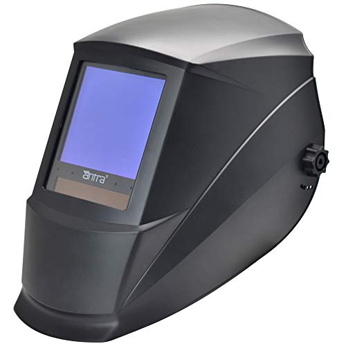 "Antra AH7-860-0000 Solar Power Auto Darkening Welding Helmet AntFi X60-8 Jumbo Viewing Size 3.78""X3.5"" Variable Shade 4/5-9/9-13 with Grinding Feature Extra Lens Cover Good for Arc Tig Mig Plasma"