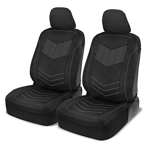 Motor Trend Two-Tone Sport Faux Leather Car Seat Covers, Front – Stylish Two-Tone Design, Easy to Install, Universal Fit for Auto Truck Van and SUV, Gray (M304)