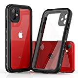 Redpepper iPhone 11 Waterproof Case, Built-in Screen Protector 360 Full-Body Protection Heavy Duty Shock-Proof dust-Proof Cover Case for iPhone 11 2019(6.1 Inch) (Black/Clear)