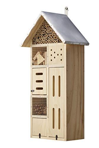 Eifa 50 cm Insektenhotel Turm XXL Natur/Metall-Dach Nistkasten Insektenhaus aus Holz für Bienen, Schmetterlinge, Käfer & andere Tiere