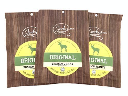 Jerky.com's Original Venison Jerky, Bulk 3 Pack, Best Wild Game Deer Jerky, 13g of Protein, All-Natural Keto Diet Snack, No Added Preservatives, 5.75oz Total