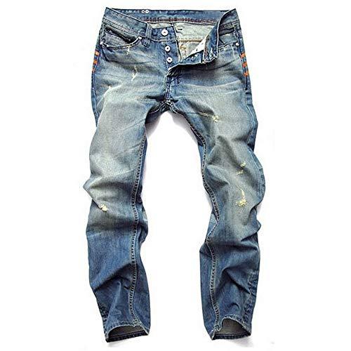 GQDP New Men's Clothing Nostalgic Jeans Light Blue Straight Slim...