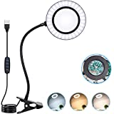 10X Magnifying Glass Lamp with Light Magnifier Light with Clip, Adjustable Flexible Gooseneck, 3 Color Modes Magnifying Lamp with USB Powered, Perfect for Daily Hobbies Repairing, Reading, Crafts