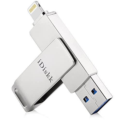 iDisk Apple認証 MFi取得 iPad iPhone USBメモリ128gb Lightning フラッシュドライブ コネクタ搭載 外付 US...