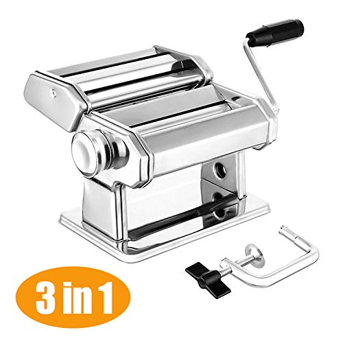 Elegant Life Nudelmaschine Pasta Maker Deluxe Set, Robust Hausgemachte Nudelmaschine mit 7 Dickeneinstellungen für frische Fettuccine Spaghetti Lasagne Teigrolle Cutter Nudelmaschine