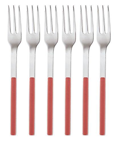 Sambonet Elba Red-Set di Forchette da Dessert Colorate Monoblocco in Acciaio Inox 18/10, 6 Pezzi Inossidabile, Rosso, forcette Dolce