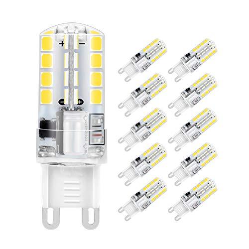 Lampadina LED G9, 5W 32x2835 SMD Risparmio Energetico Lampada, Bianco Freddo 6000K, Equivalente a 40W Lampada Alogena, 400lm, Angolo di visione 360, AC220-240V, Confezione da 10 by Jpodream