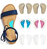 Gel Arch Support Cushions for Men & Women, Shoe Insoles for Flat Feet, Reusable Arch Inserts for Plantar Fasciitis, Adhesive Arch Pad for Relieve Pressure and Feet Pain- 6 Pairs