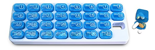 31 Day Monthly Pill Organizer Pods - Keep a Months Supply of medications, Vitamins & Supplements Ready to go - Great Pill Box for Travel BPA Free - Unconditional Guarantee