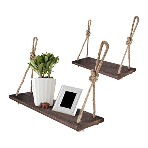 Yankario Rope Hanging Floating Shelves, Rustic Wood Wall Decor...