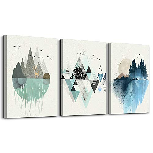 Abstract Mountain in Daytime Canvas Prints Wall Art Paintings Abstract Geometry Wall Artworks Pictures for Living...