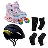 This Kit includes appropriate protective gear: Bolster elbow guard, helmet, Bolster knee guard and pair of inline shoe skates including adjustable key