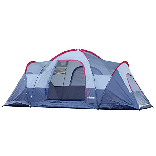 Outsunny Tente de Camping familiale 5-6 pers. - Grande Porte + 3 fenêtres - dim. 4,55L x 2,3l x 1,8H m Fibre Verre Polyester Oxford Gris