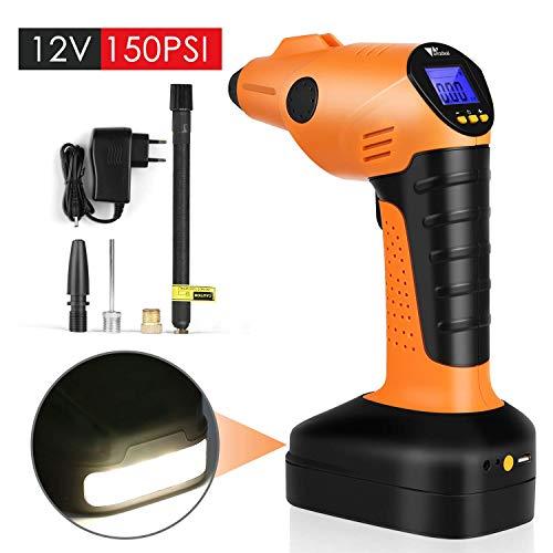 Amzdeal Compresseur Voiture Portable Compresseur d'Air Electrique Pompe Gonfleur Numérique avec Lampe LED et Écran LCD 12V 150PSI,60L/min
