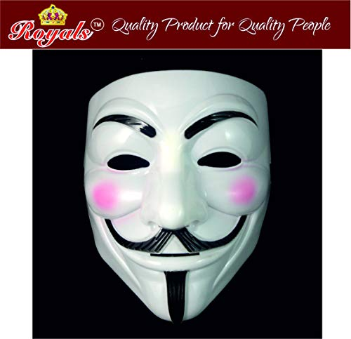 Royals® V for Vendetta Comic Anonymous Guy Fawkes Face Mask, White , (Pack of 1)