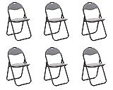 Chaise Pliante en métal Set de 6 chaises de Cuisine Chaise invité Chaise de Jardin en Gris Chaise de Camping rembourré