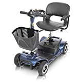Vive 4 Wheel Mobility Scooter - Electric Powered Wheelchair Device - Compact Heavy Duty Mobile for Travel, Adults, Elderly - Long Range Power Extended Battery with Charger and Basket Included