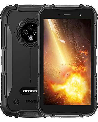 Telephone Portable Incassable, DOOGEE S35 Smartphone Incassable Débloqué 4G, 5 Pouces, 4350 mAh, 13MP+5MP Caméra, 2 Go+16 Go(SD 256Go), Android 10, IP68 Antichoc Étanche/Dual SIM/NFC/Face/GPS-Noir