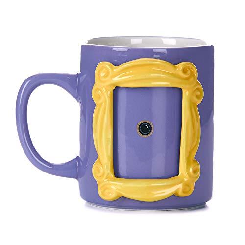 Paladone PP6548FR | Taza de cerámica con forma de marco de fotos mirilla Monica 330 ml personalizado | Inserta tu propia foto 6,5 cm por 4,5 cm | Amigos TV Merchandise, Morado y amarillo