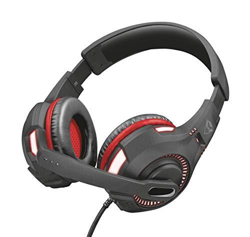 Trust GXT 407 Ravu Auriculares para Gaming con iluminación para PC y Laptop, Negro