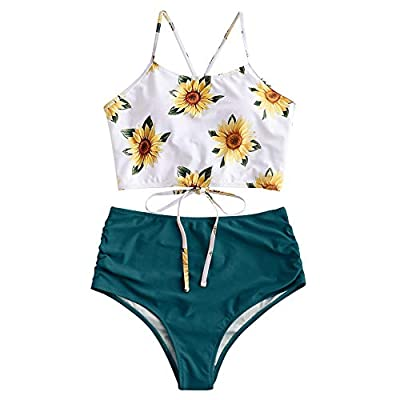 Material: Nylon,Polyester,Spandex.Smooth skin-friendly tankini swimsuits fabric is very stretchy, soft and comfortable.Please wash separately and use mild detergent without bleach Features:sunflower print tankini tops,padded bra, wire free,adjustable...