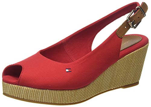 Tommy Hilfiger Iconic Elba Sling Back Wedge, Sandali Punta Aperta Donna, Rosso (Primary Red XLG), 38 EU