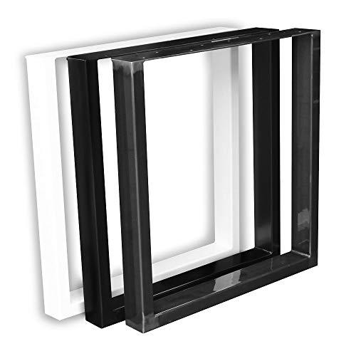1 Paar (2 Stück) BestLoft Kufen – Tischkufen im Industriedesign aus Rohstahl (70x72cm, Schwarz Pulverbeschichtet)