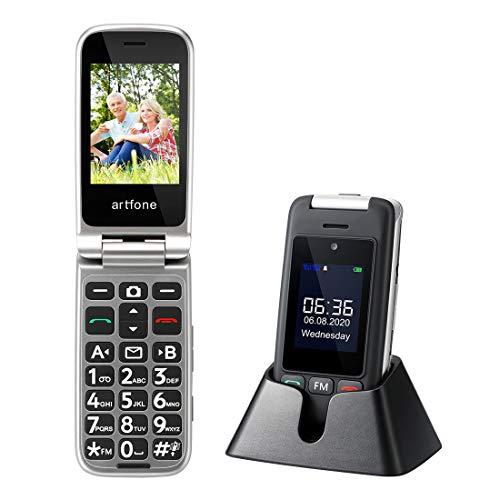 Artfone Téléphone Portable Senior à Clapet Debloqué GSM avec Grosses Touches, Bouton SOS, Double SIM, Écran 2,4 '', Haut Volume, Radio FM et Station de Charge, Téléphone 2G pour Personnes Âgées