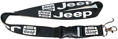 """Jeep Black Car Accessory Fabric Lanyard Neck Strap Detachable Clip Black Stripe Wide 1"""" for Car Key ID Card Mobile Phone Badge Holder"""