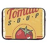 Sopa de Tomate Cartera de Metal Vintage Bolsas para computadora portátil Compatible con Tableta Netbook de 15 ″, Maletín con Funda para Llevar Bolso Funda con Funda