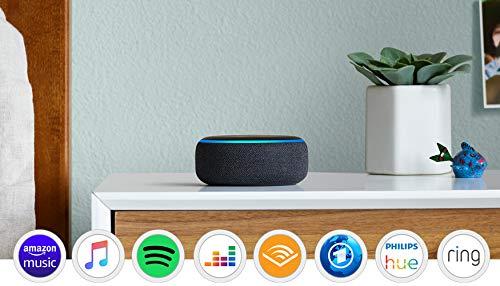 Echo Dot (3. Gen.), Zertifiziert und generalüberholt, Intelligenter Lautsprecher mit Alexa, Anthrazit Stoff