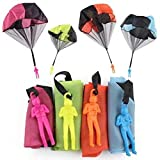 Balight 4 Pieces Parachute Figures Free Throwing Hand Throw Soldiers Flying for Outdoor Parties Favor( Blue, Green, Orange, Rose Red)